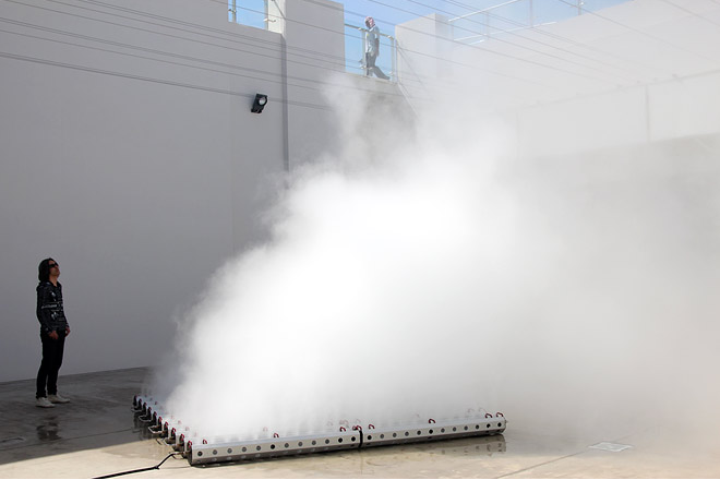 19.07.2014 Shiro Takatani-composition- 2013-Fog machine (water, nozzle, pump) and motorised mirror Commissioned by Sharjah Art Foundation